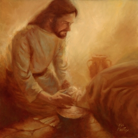 "Christ's Example - 24""x24"" Oil"